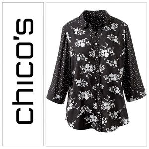 Chico's ¾ Sleeve Mixed Print Shirt Blouse Top NWT